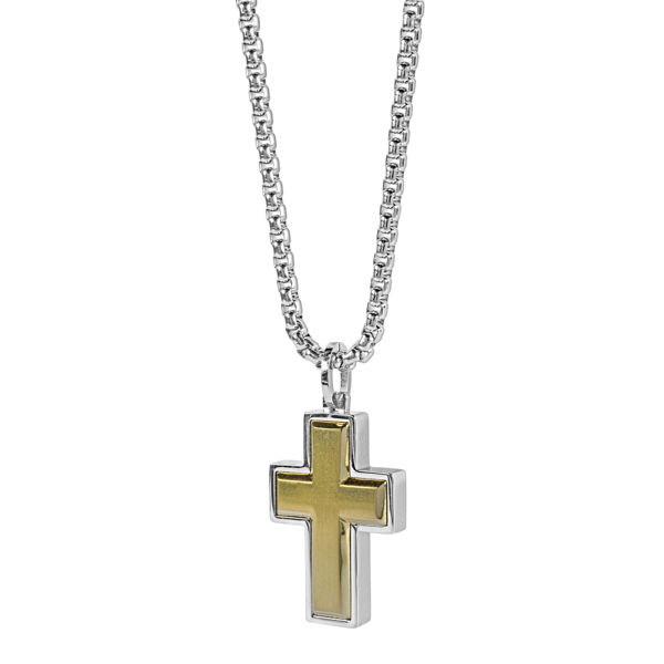 Italgem Stainless Yellow Ion Plated Cross Pendant with Box Chain