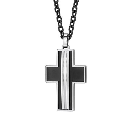 Italgem Black Stainless Ion Plated Cross Pendant with Box Chain