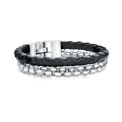Italgem Men's Bracelet with Stainless Steel and Leather