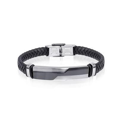 Italgem Men's Braided Black Leather Bracelet with Stainless Ion Plated Accent