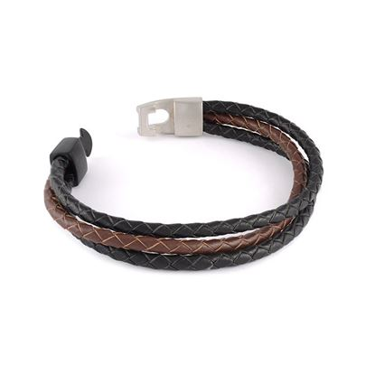 Italgem Men's Braided Black and Brown Leather Bracelet with Stainless Steel Clasp