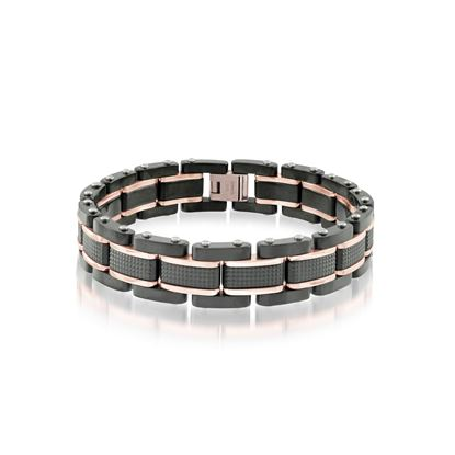 Italgem Men's Black and Rose Stainless Ion Plated Bracelet