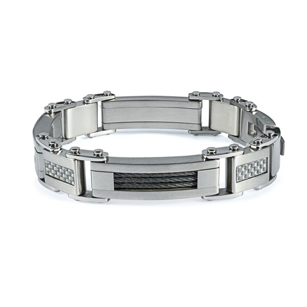 Italgem Men's Stainless Carbon Fiber Bracelet