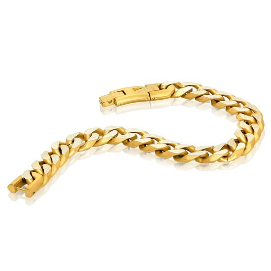 Italgem Men's Stainless Ion Plated Bracelet in Yellow Tone