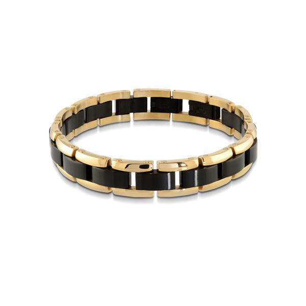 Italgem Men's Black and Yellow Stainless Ion Plated Bracelet