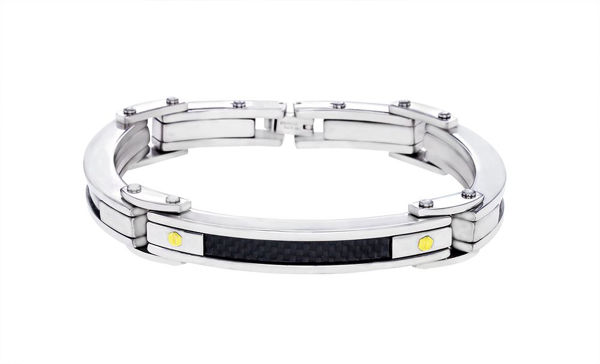 Italgem Men's Stainless Steel Bracelet with Black Carbon Fiber