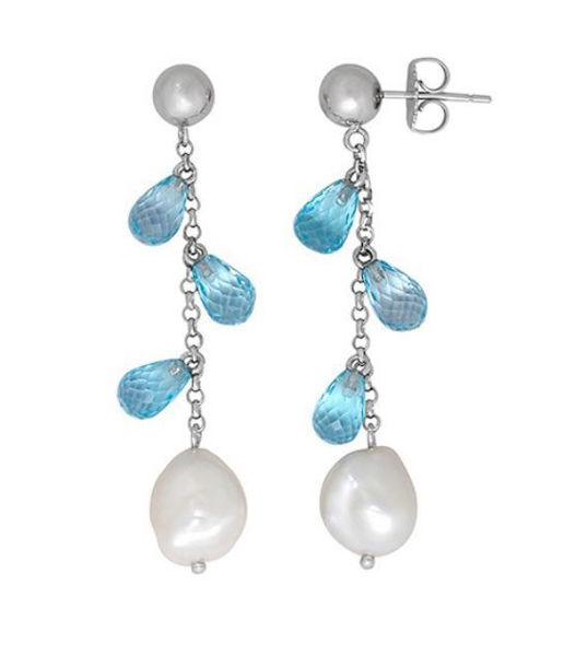 Keshi Pearl and Blue Topaz Earrings.