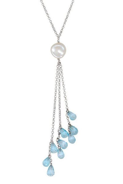 Keshi Pearl and Blue Topaz Lariat Necklace