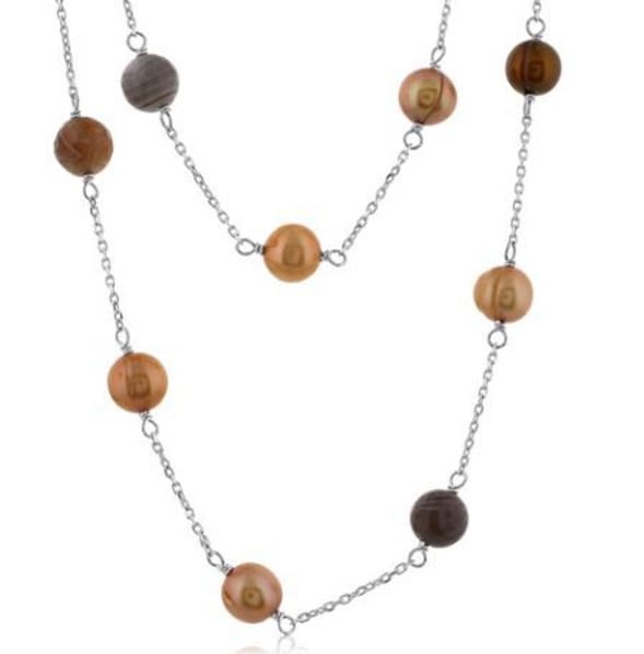 Tin Cup style necklace with Chocolate Freshwater Potato Pearls