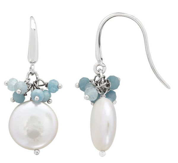Solstice Freshwater Coin Pearl and Aquamarine Earrings
