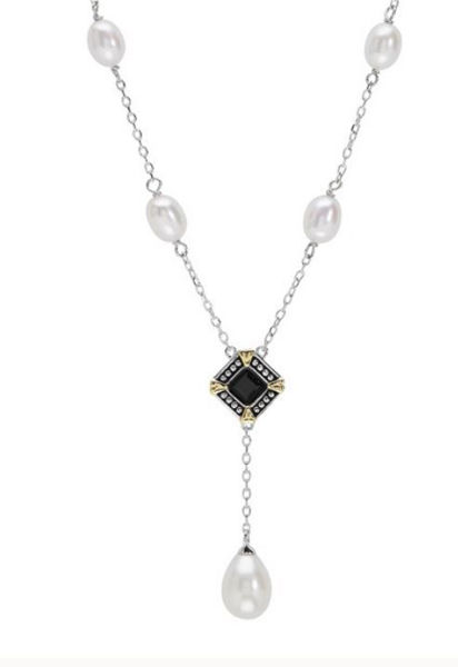 Deco Noir Freshwater Pearl and Black Onyx Lariat Necklace