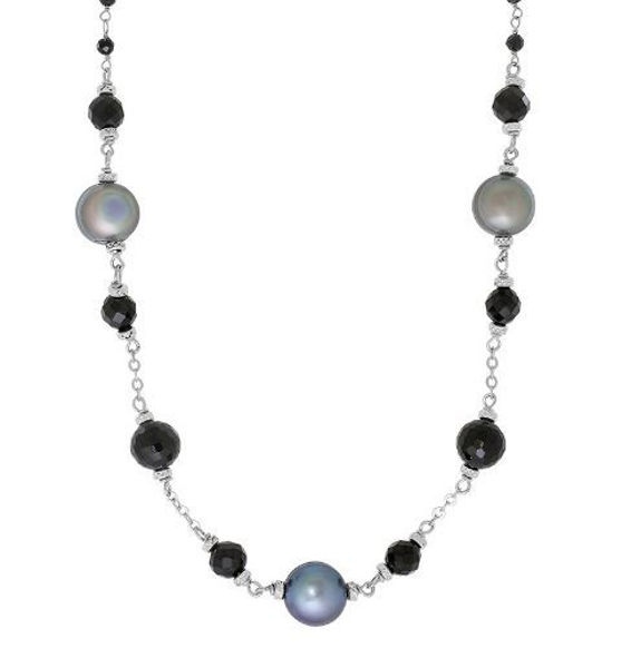 "18"" After Dark Necklace with 8-9mm Peacock Freshwater Pearls"