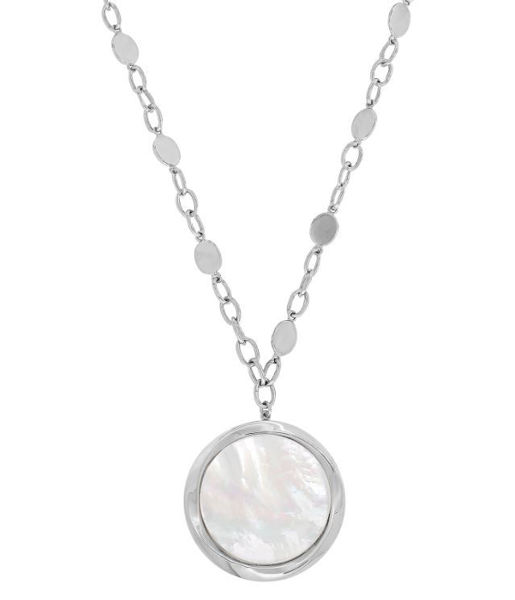Reflection Necklace with a bezel set Mother of Pearl