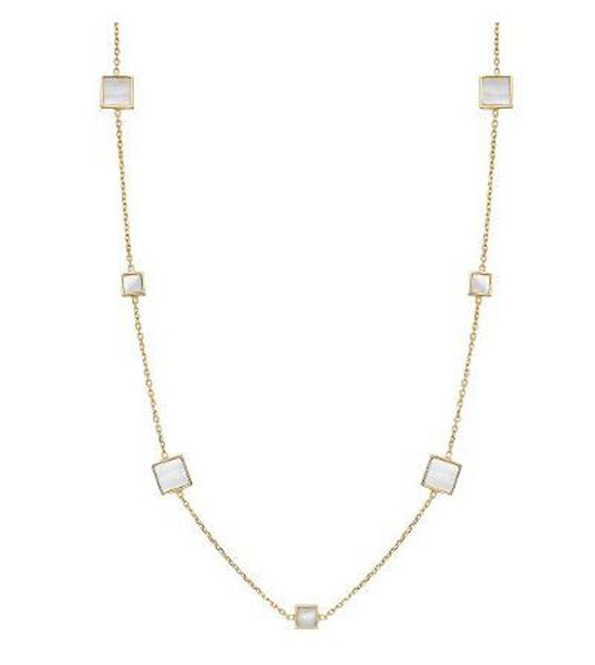 Square Mother of Pearl Station Necklace