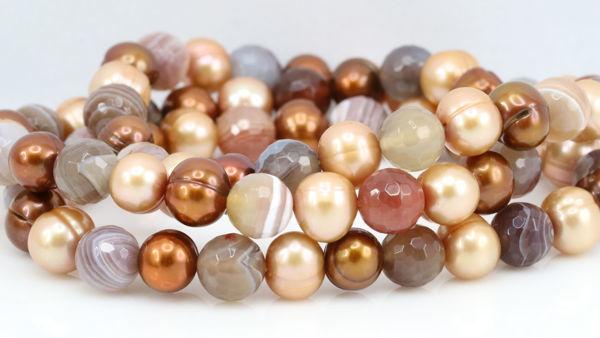 Freshwater Pearl and Agate Bracelet Bundle