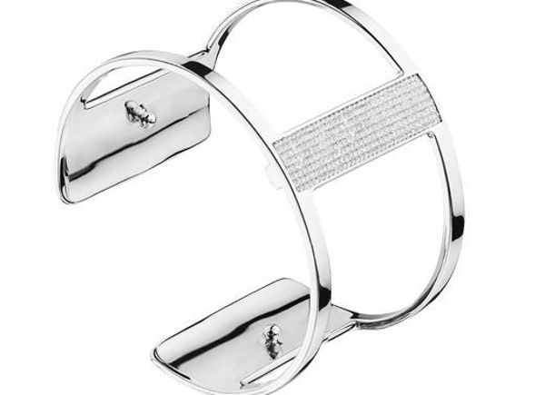 40mm Barrette Cuff Bracelet in Silver with Cubic Zirconia