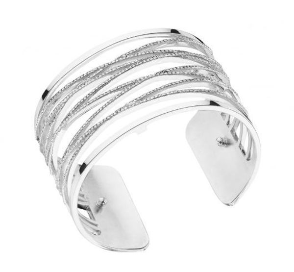 40mm Liens Cuff Bracelet in Silver with Cubic Zirconia