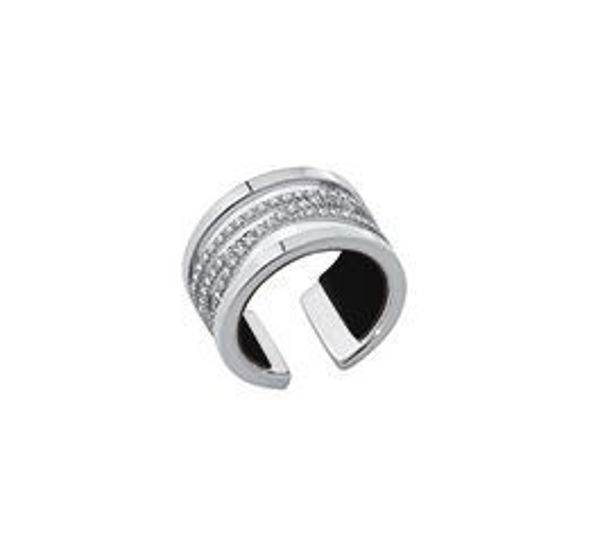 12mm Silver Liens Ring with Cubic Zirconia. Size Medium