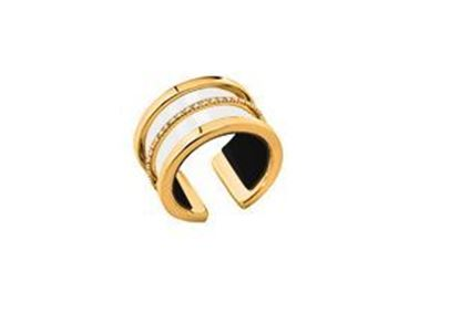 12mm Paralleles Ring in Yellow with Cubic Zirconia. Size Medium
