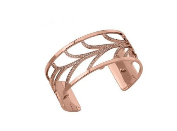 25mm Courbe Cuff Bracelet in Rose with Cubic zirconia