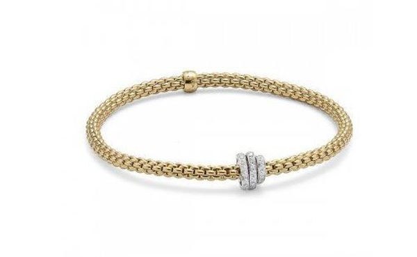 18Kt Yellow gold Flex it Bracelet with Diamond Pave