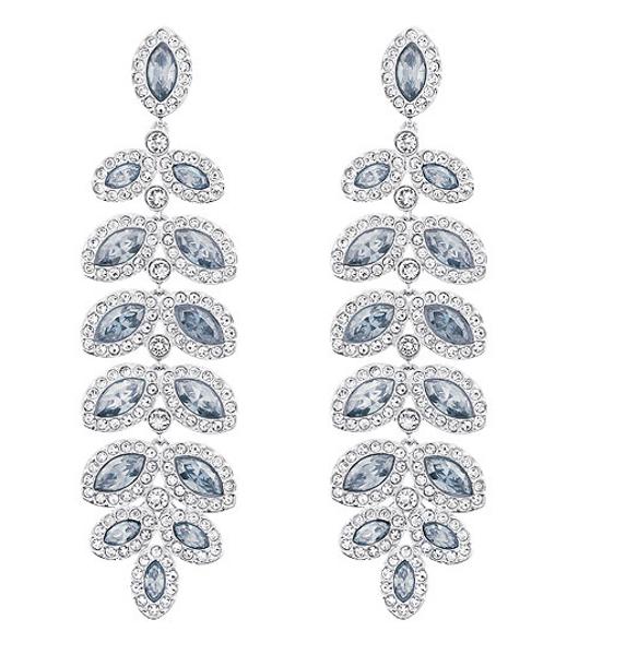 Baron - Leaf shaped light blue crystal earrings