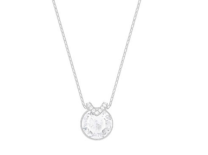 """Bella-Larger round crystal center with pave """"V"""" necklace"""