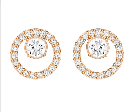 CREATIVITY CIRCLE PIERCED EARRINGS, SMALL, WHITE, ROSE GOLD PLATING