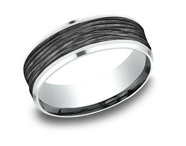 Ammara Stone white gold band w/ drop bevel edges, Black Titanium Inlay w/ horizontal bark finish.