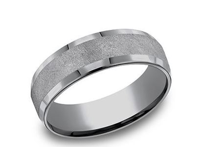 7mm Grey Tantalum band with polished edges and a fiberglass finish center