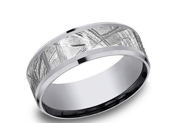 Grey Tantalum band with a Meteorite Center