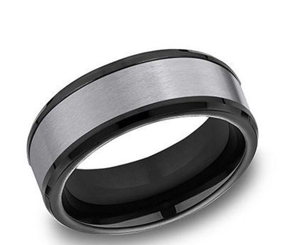 8mm Black Titanium and Tantalum band with beveled edges