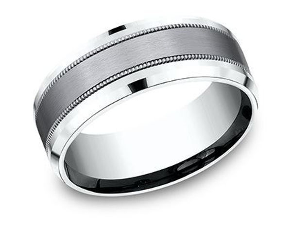 8mm 14Kt White Gold Band with a Tantalum Inlay