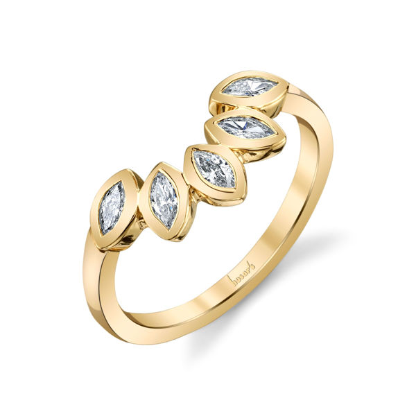 14Kt Yellow Gold Curved Band with Marquise Diamonds