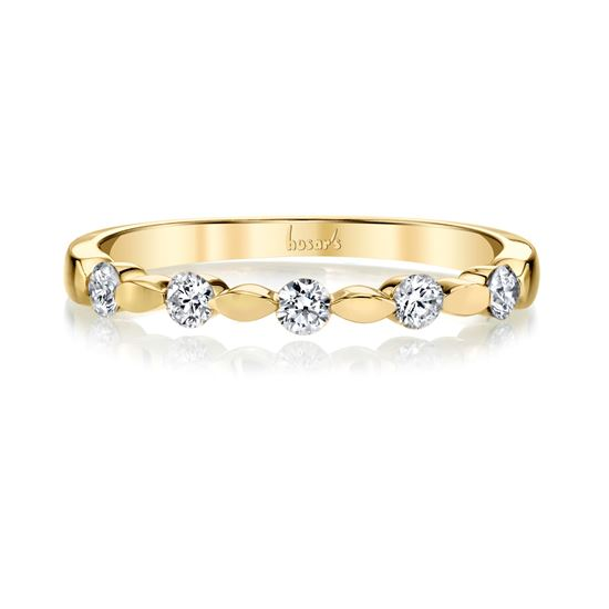 14Kt Yellow Gold Stackable Marquise and Dot Diamond Band