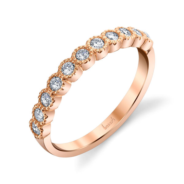 14Kt Rose Gold Vintage Inspired Diamond Band