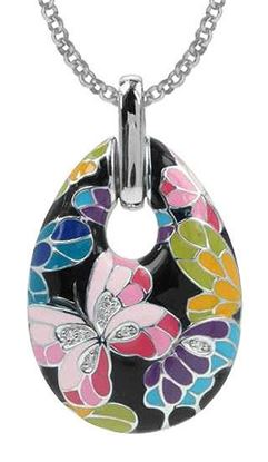 Butterfly Kisses Black Enamel Pendant