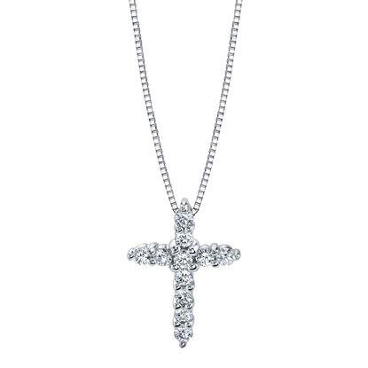 14Kt White Gold Classic Diamond Cross
