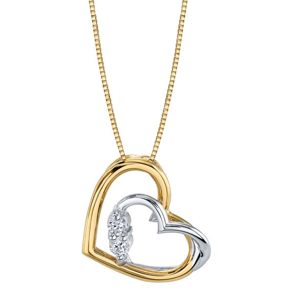 14Kt Yellow and White Gold Two Stone Diamond Heart Pendant