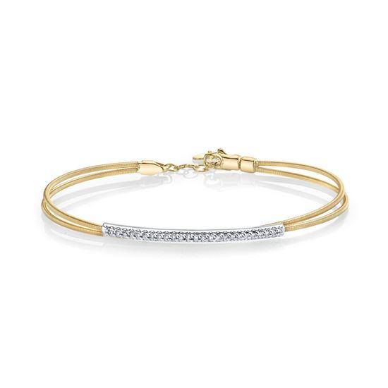 14Kt Yellow and White Gold Diamond Bangle Bracelet