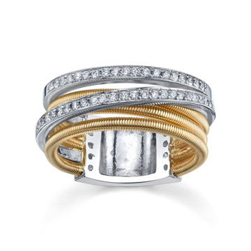 14Kt Yellow and White Gold Twisted Diamond Band