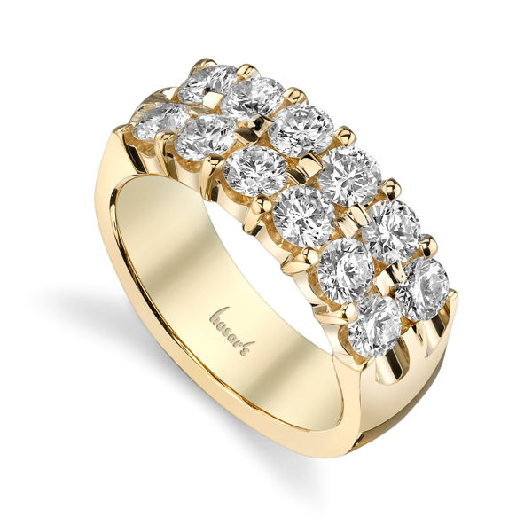 14Kt Yellow Gold Double Row Shared Prong Band