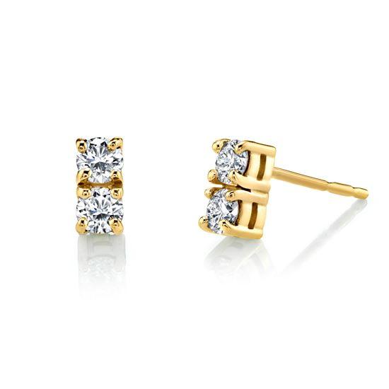 14Kt Yellow Gold Two Stone Diamond Earrings