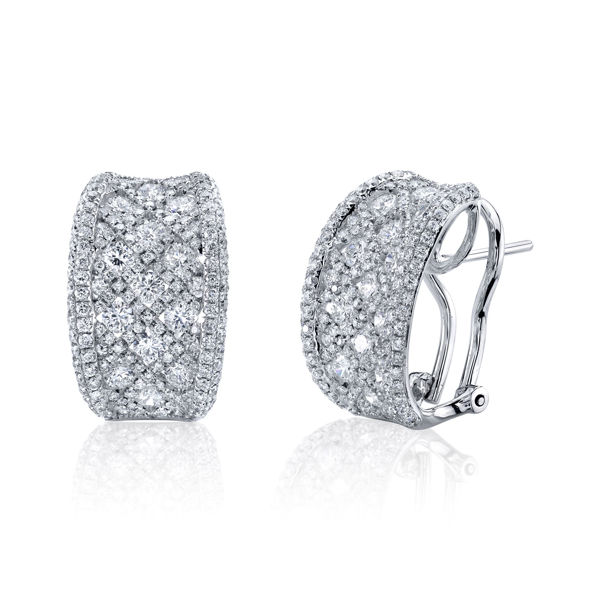 18Kt White gold Concave Diamond Hoop Earrings