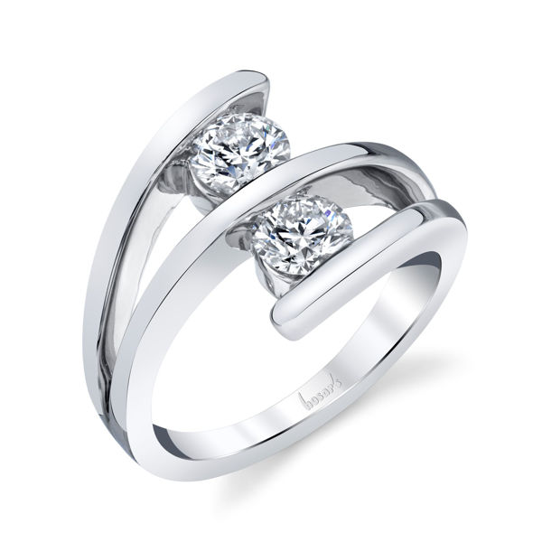 14Kt White Gold Contemporary Two Stone Diamond Ring