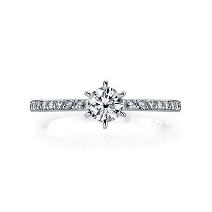 14Kt White Gold Narrow Diamond Engagement Ring