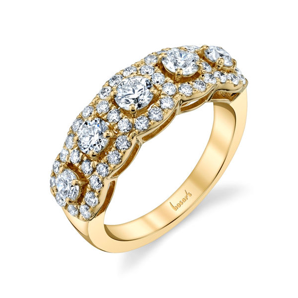 Elegant 14Kt Yellow Gold Five Diamond Band
