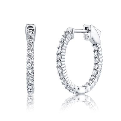 14Kt White Gold Classic Shared prong Hoop Earrings
