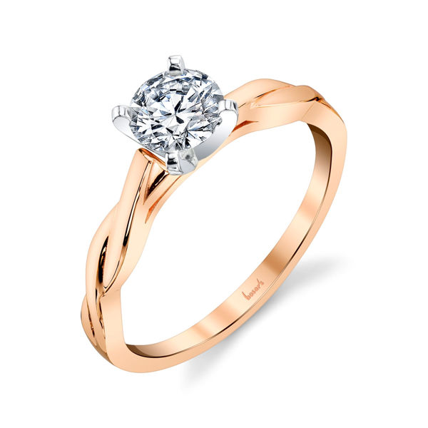 14Kt Rose Gold Twisted Solitiare Engagement Ring