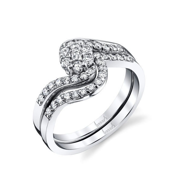 14Kt White Gold Bypass Cluster Engagement Ring